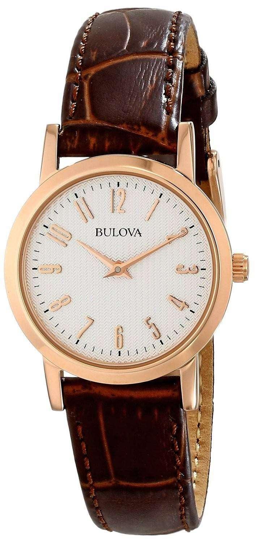 bulova quartz brown leather 97l121 womens