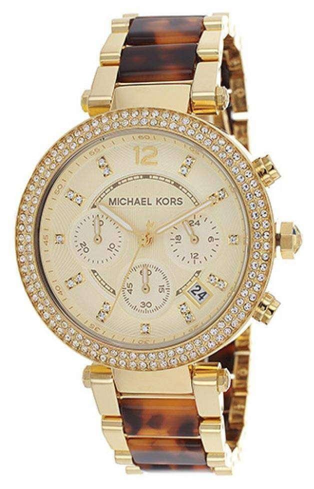 michael kors chronograph tortoiseshell