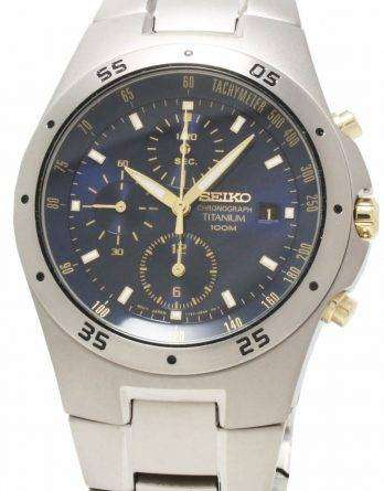 Seiko Chronograph Titanium Two-tone Mens Watch SND449P1