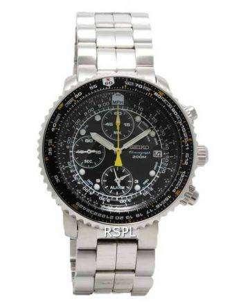 Seiko Alarm Chronograph Pilots Flightmaster SNA411P1 Watch