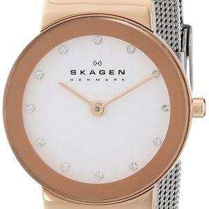 Skagen Freja White Dial Swarovski Stainless Steel Mesh Bracelet 358SRSC Womens Watch