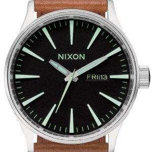 Nixon Quartz Sentry Brown Leather A105-1037-00 Mens Watch