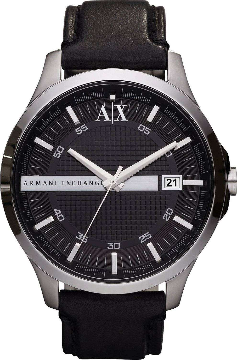 Armani exchange black dial leather strap ax2101 mens watch downunderwatches for Black leather strap men