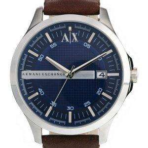 Armani Exchange Quartz Navy Dial Brown Leather Strap AX2133 Mens Watch