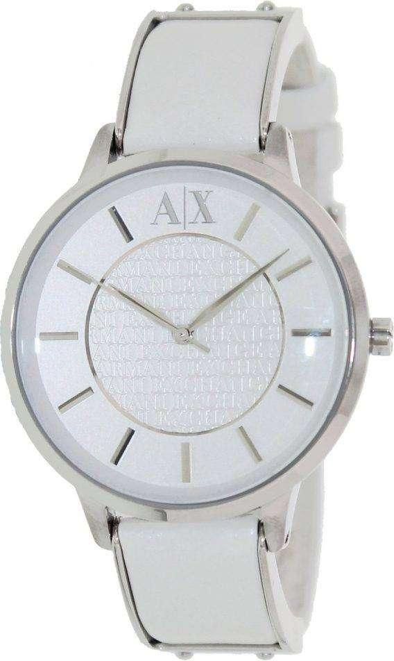 Armani Exchange White Dial White Leather AX5300 Ladies Watch 1