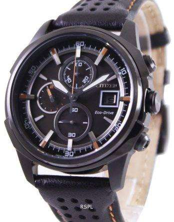 Citizen Eco Drive Black Leather Chronograph CA0375-00E Mens Watch