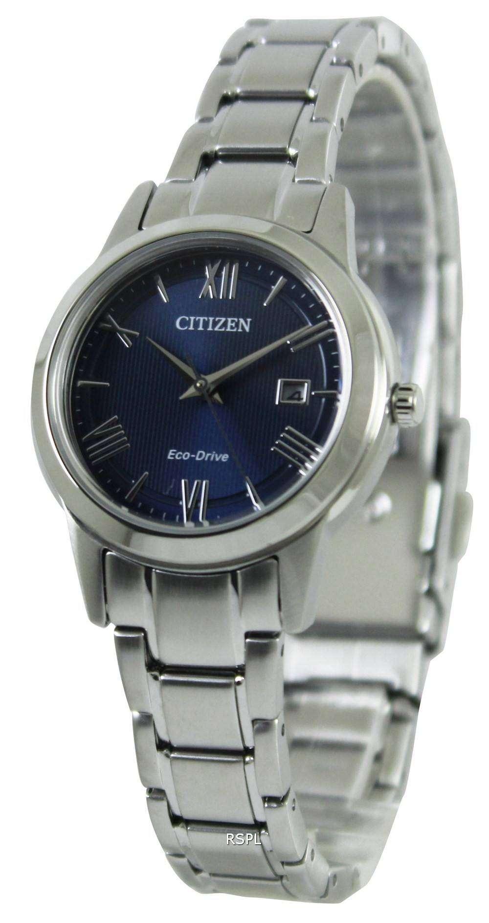 Citizen eco drive blue dial fe1081 59l womens watch for Citizen eco dive