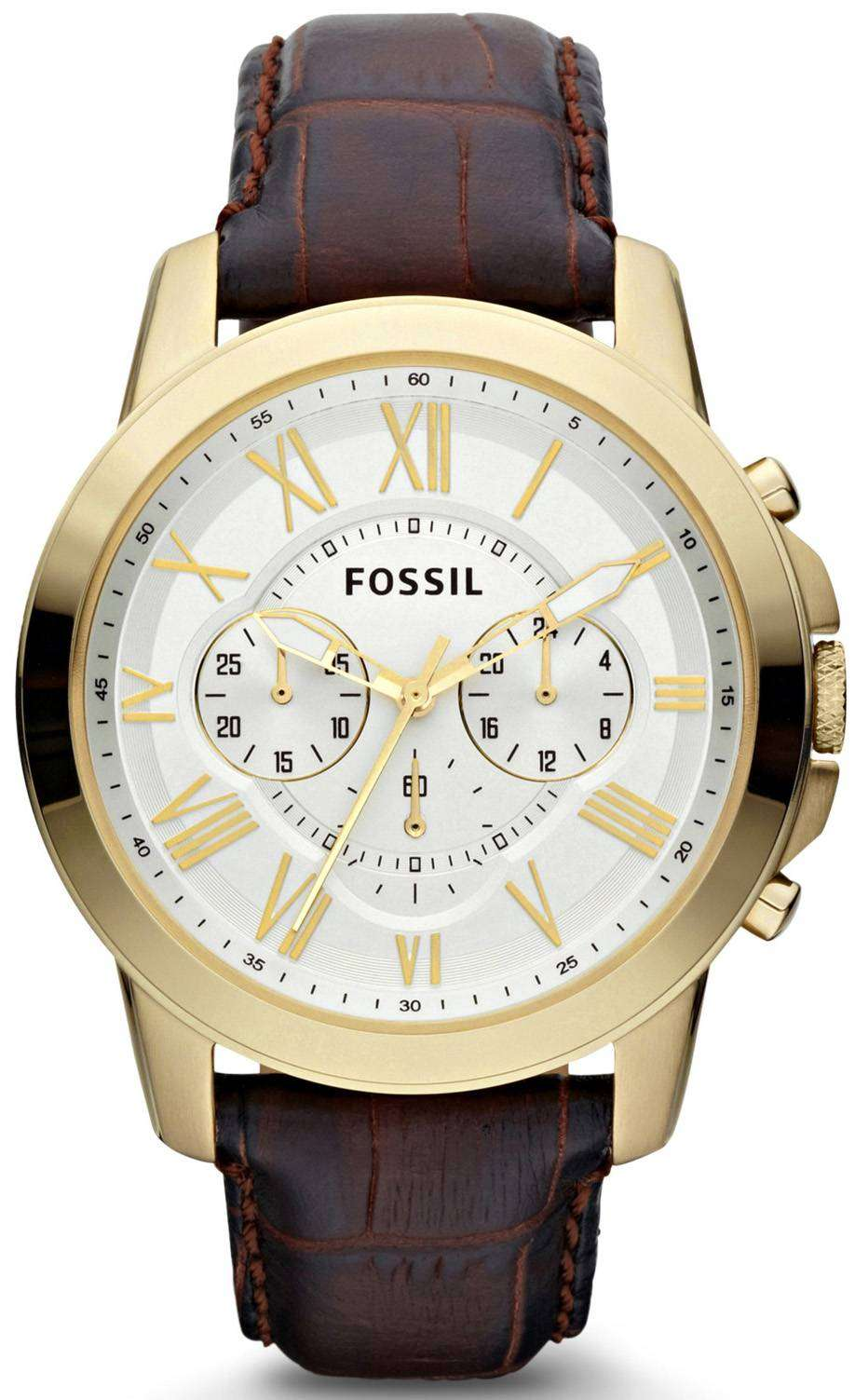 fossil grant chronograph brown croco embossed leather