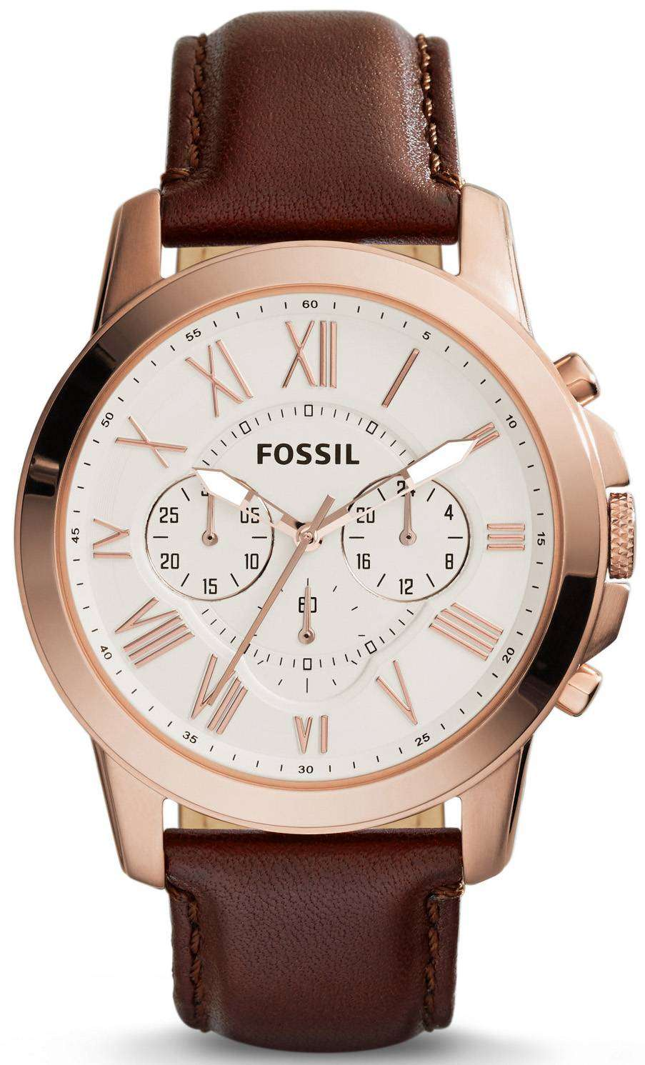 fossil grant chronograph brown leather fs4991 mens