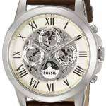 Fossil Grant Automatic White Skeleton Dial Brown Leather ME3027 Mens Watch