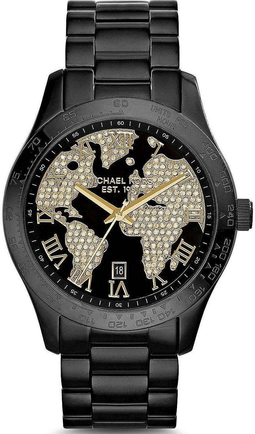michael kors layton crystals black ip mk6091 womens watch downunderwatches. Black Bedroom Furniture Sets. Home Design Ideas