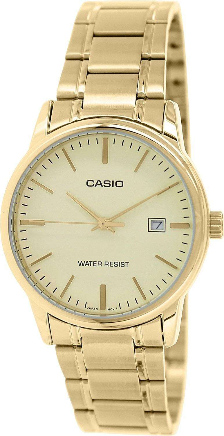casio analog gold tone stainless steel gold mtp v002g