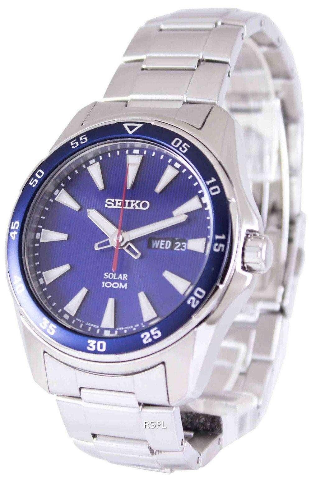 Seiko Solar 100m Sne391p1 Sne391p Mens Watch
