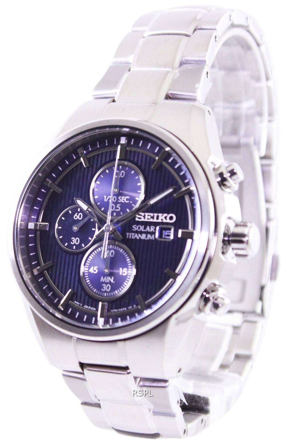 seiko solar titanium chronograph ssc365p1 ssc365p mens. Black Bedroom Furniture Sets. Home Design Ideas