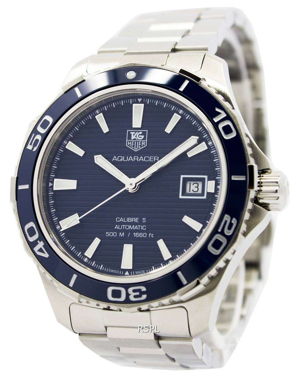 Tag heuer automatic aquaracer calibre 5 500m wak2111 ba0830 mens watch downunderwatches for Tag heuer automatic