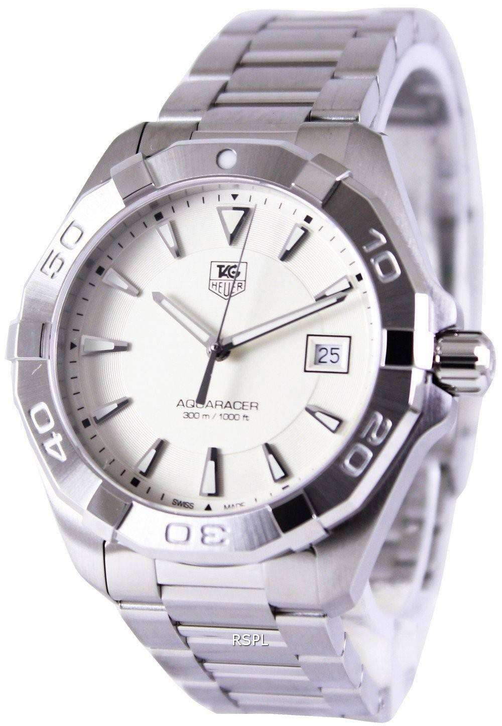 Tag heuer aquaracer silver dial 300m way1111 ba0910 mens watch downunderwatches for The tag heuer aquaracer