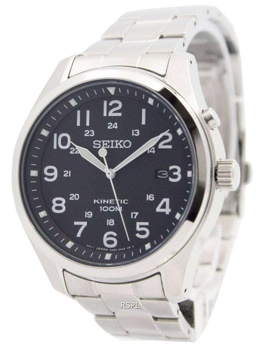 Seiko kinetic black dial 100m ska721p1 ska721p men 39 s watch downunderwatches for Seiko kinetic watches