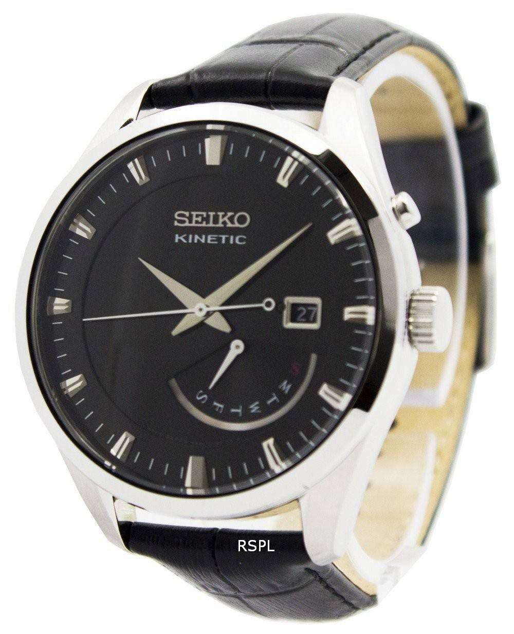 Seiko kinetic leather strap srn045p2 men 39 s watch downunderwatches for Seiko kinetic watches