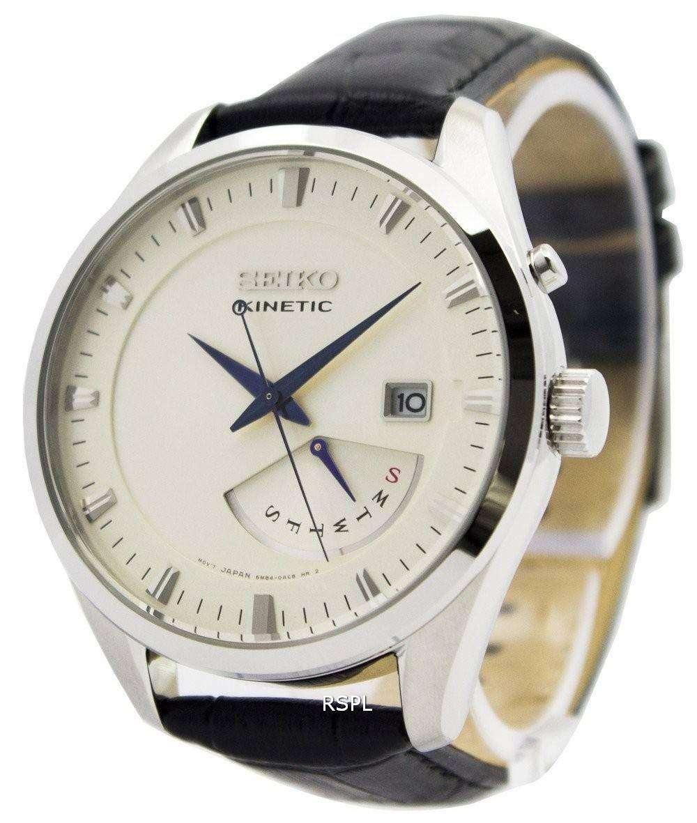 Seiko Kinetic Leather Strap SRN071P1 SRN071P Men's Watch ...