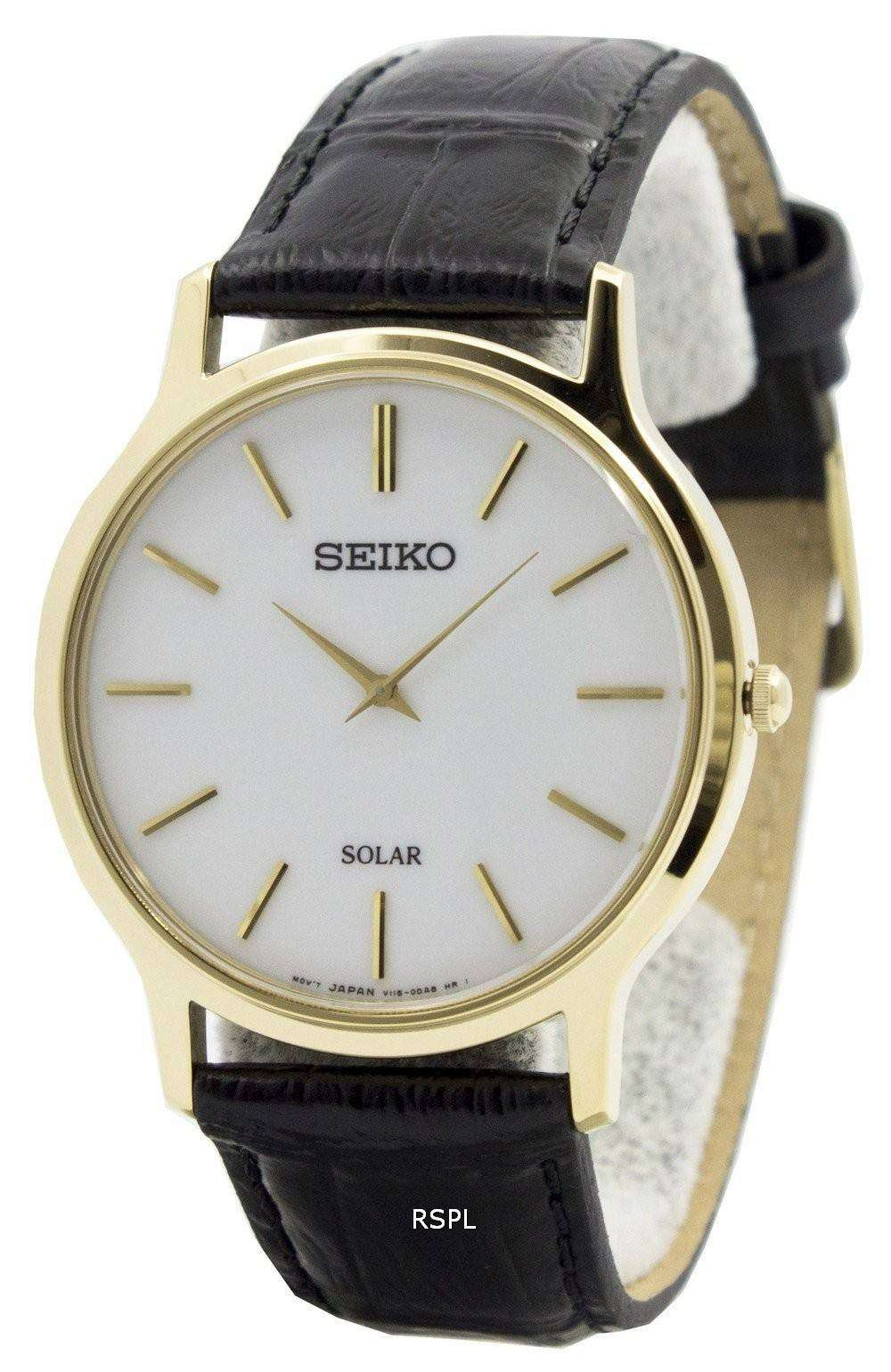 784a22208 Seiko Solar White Dial Leather Strap SUP872P1 SUP872P Mens Watch ...