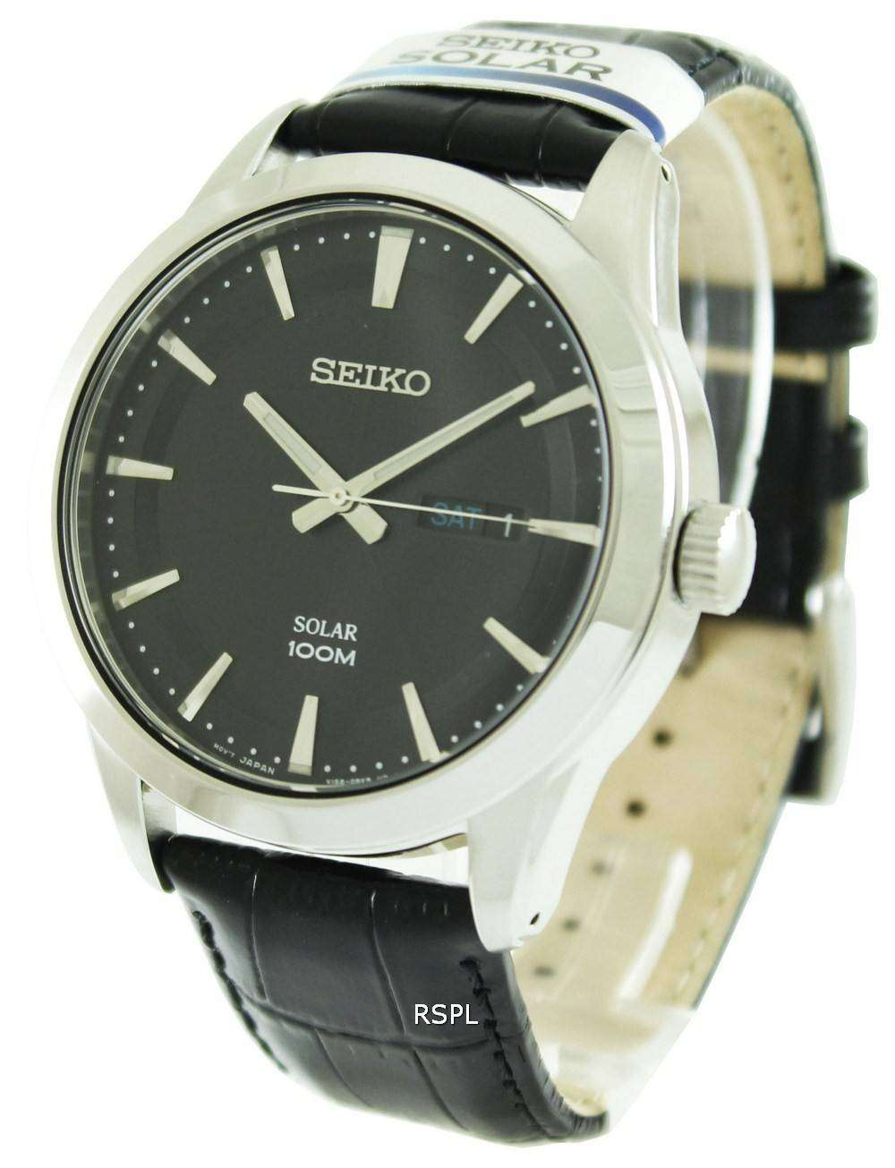 Seiko solar powered 100m sne363p2 mens watch downunderwatches for Solar power watches