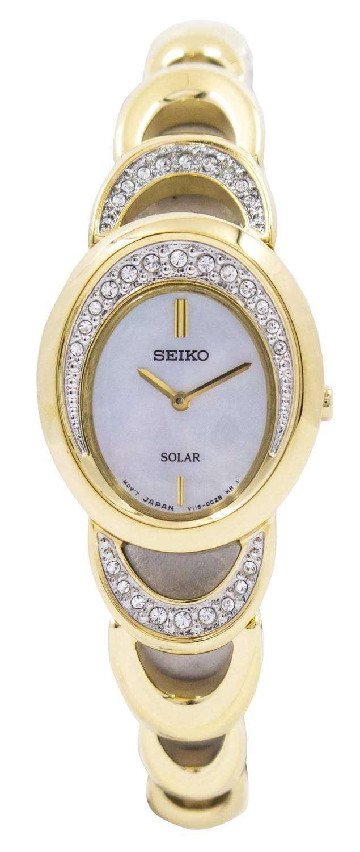 Seiko Solar Gold Tone Swarovski Crystals Sup298 Sup298p1