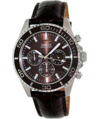 Guess Chronograph Brown Leather Quartz U0171G2 Men's Watch