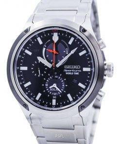 Seiko Sportura Solar World Time Chronograph SSC479 SSC479P1 SSC479P Mens Watch