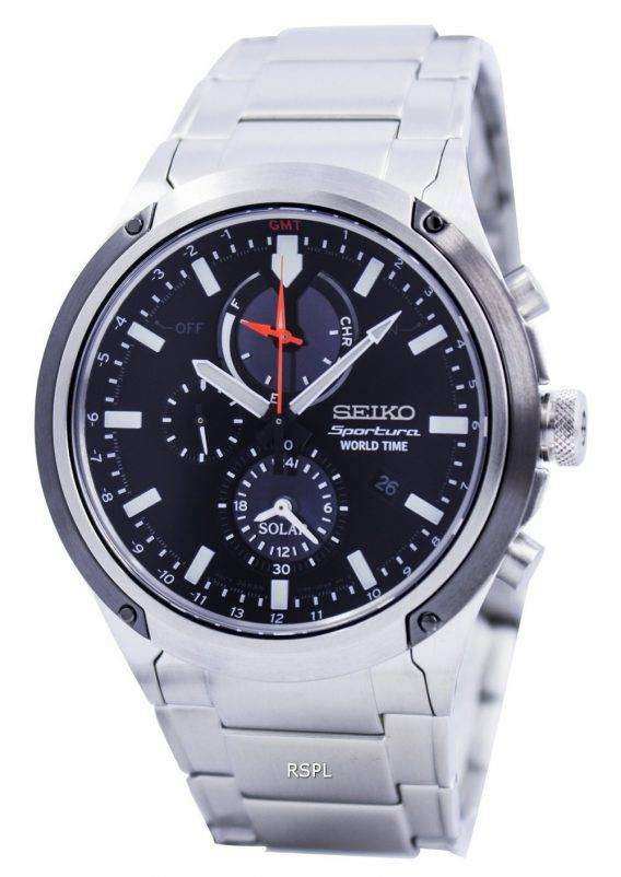 Seiko Sportura Solar World Time Chronograph SSC479 SSC479P1 SSC479P Mens Watch 1