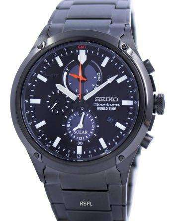 Seiko Sportura World Time Solar Chronograph SSC481 SSC481P1 SSC481P Mens Watch