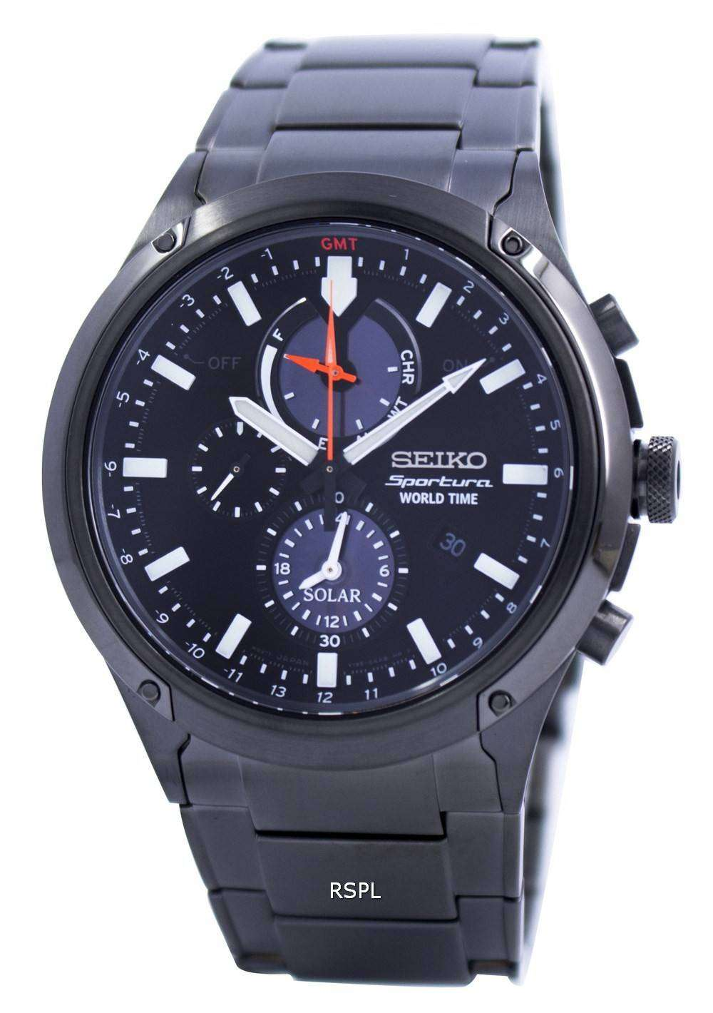 seiko sportura world time solar chronograph ssc481. Black Bedroom Furniture Sets. Home Design Ideas