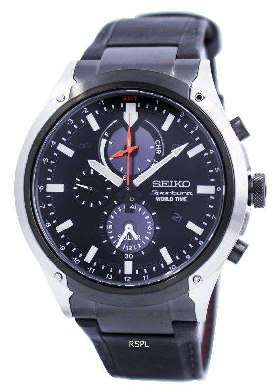 Seiko Sportura World Time Solar Chronograph SSC483 SSC483P1 SSC483P Mens Watch 1