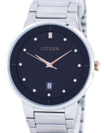 Citizen Quartz Diamond Accent Black Dial BI5014-58E Mens Watch