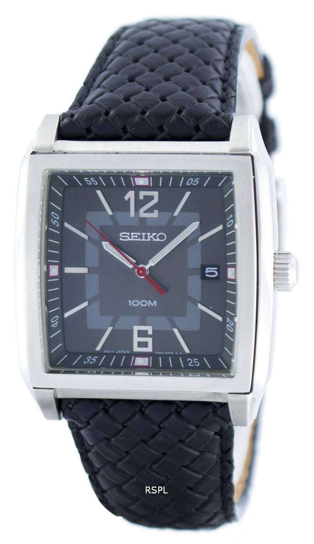 Seiko Quartz Square Shape SGED79 SGED79P1 SGED79P Men's Watch - DownUnderWatches