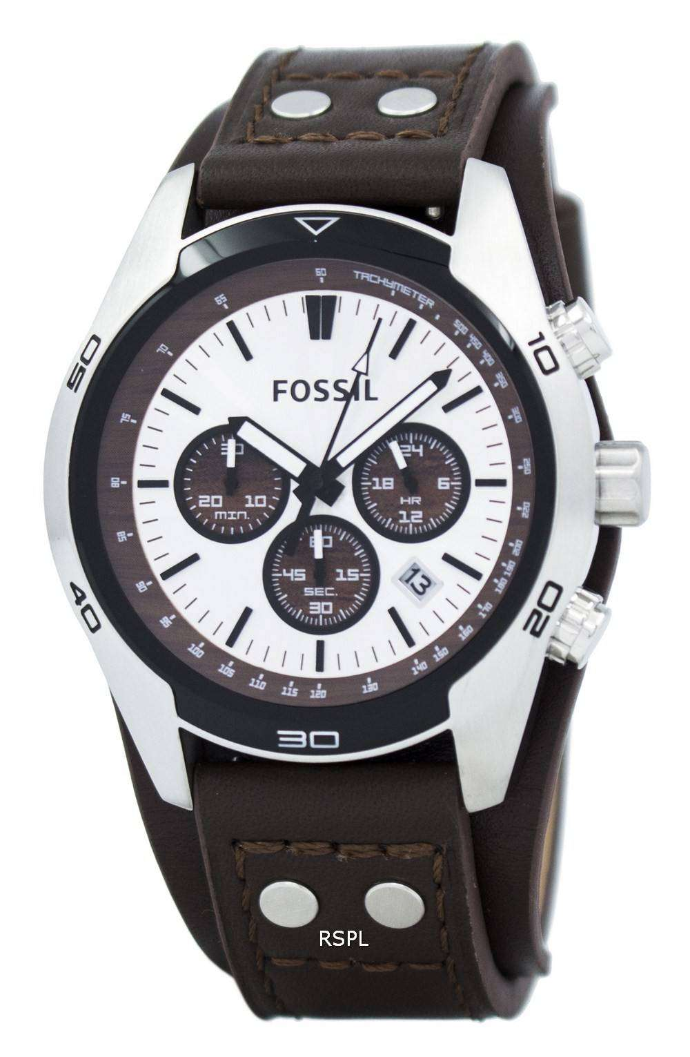 Fossil Cuff Chronograph Tan Leather CH2565 Mens Watch ...
