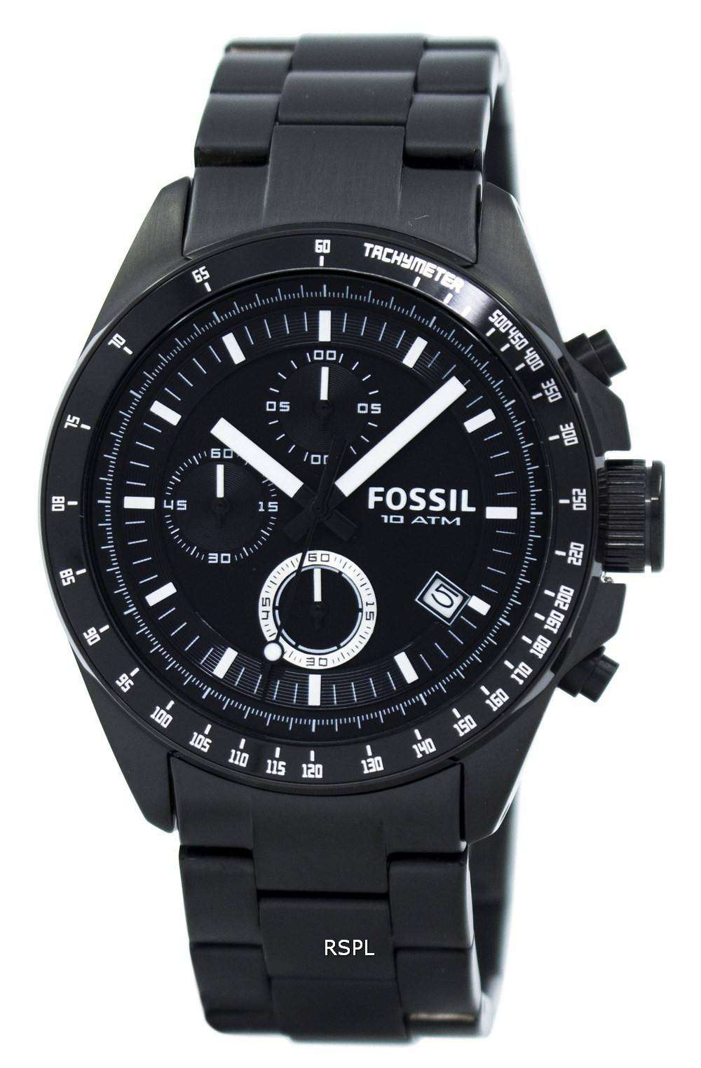 fossil chronograph black ion plated ch2601 mens watch. Black Bedroom Furniture Sets. Home Design Ideas