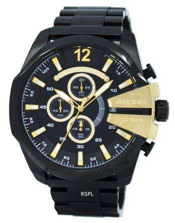 Diesel Mega Chief Quartz Chronograph Black Dial Black IP DZ4338 Mens Watch
