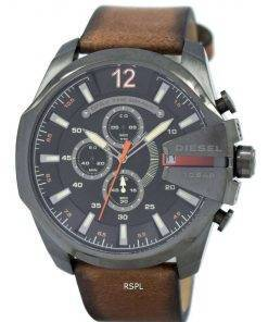 Diesel Mega Chief Black Dial Brown Leather DZ4343 Mens Watch
