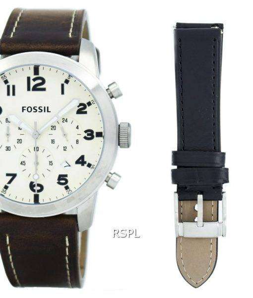 Fossil Pilot 54 Chronograph Leather And Nylon Box Set FS5182SET Men's Watch 1