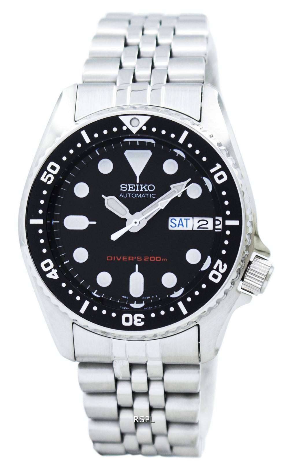 Seiko divers automatic 200m 21 jewels small size skx013k2 men 39 s watch downunderwatches for Small size womans watch