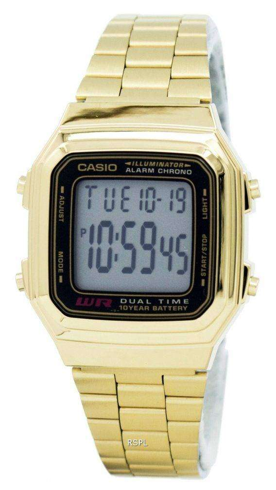 Casio Digital Stainless Steel Alarm Chrono Dual Time A178WGA-1ADF A178WGA-1A Mens Watch 1