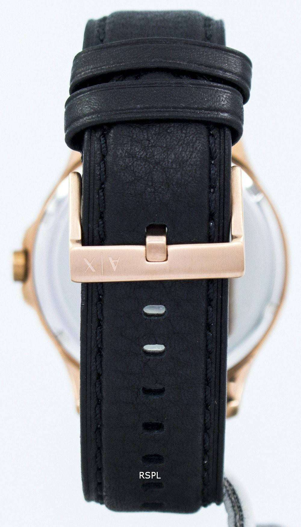 Armani exchange rose gold black dial leather strap ax2129 mens watch downunderwatches for Black leather strap
