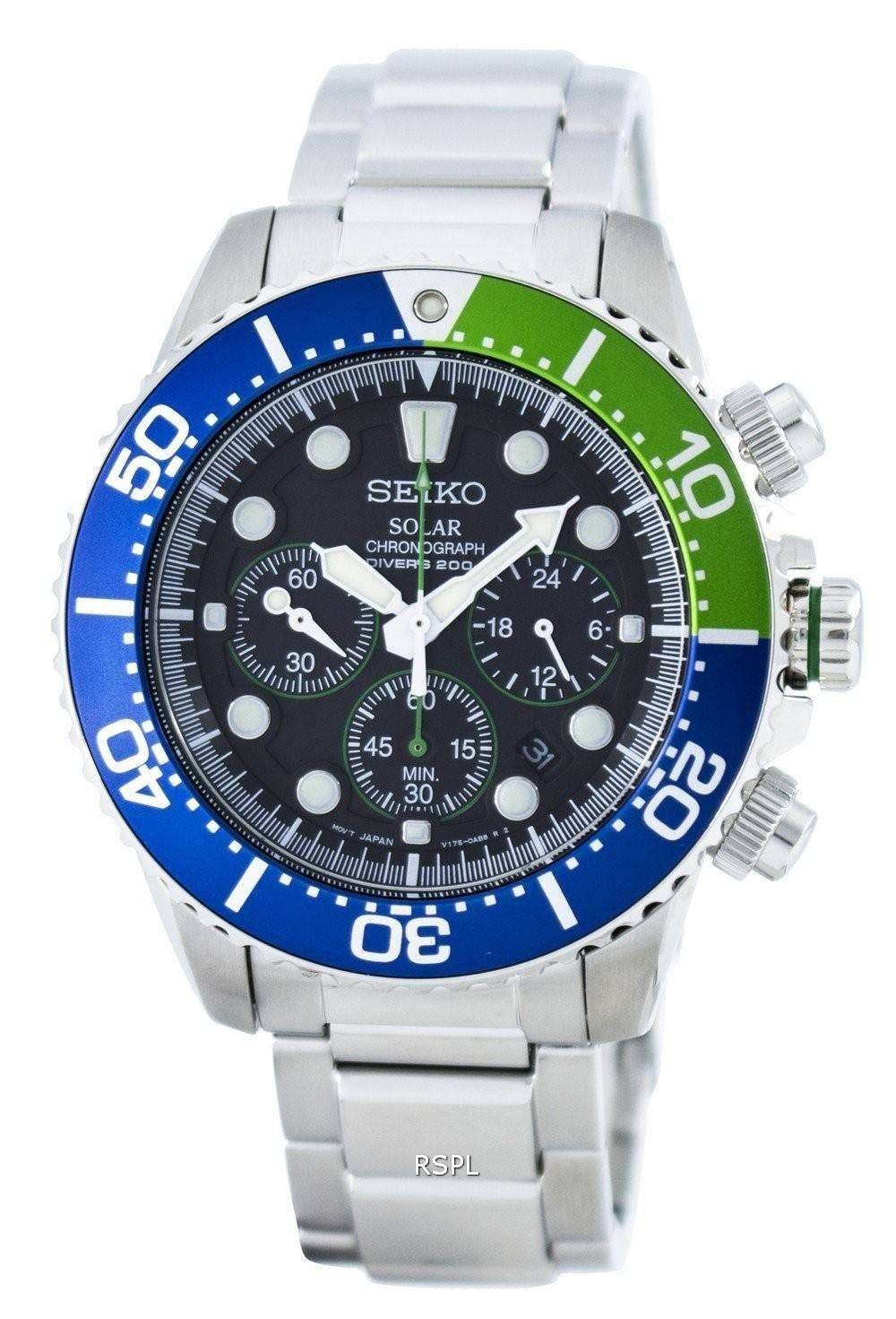 seiko solar chronograph diver 39 s 200m ssc239 ssc239p1. Black Bedroom Furniture Sets. Home Design Ideas