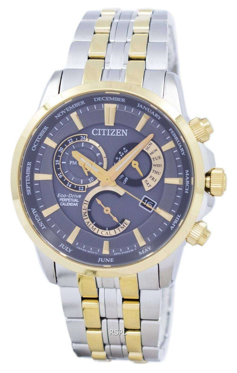 citizen eco drive chronograph perpetual calendar alarm bl8144 89h mens watch downunderwatches