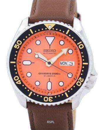 Seiko Automatic Diver's Ratio Brown Leather SKX011J1-LS12 200M Men's Watch