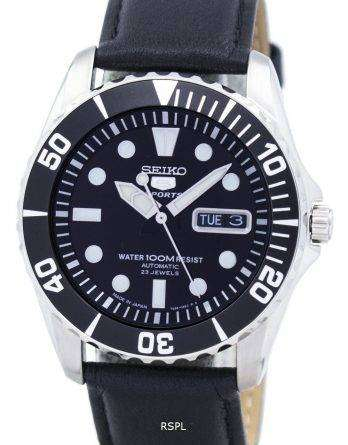 Seiko 5 Sports Automatic 23 Jewels Ratio Black Leather SNZF17J1-LS10 Men's Watch