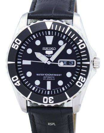 Seiko 5 Sports Automatic 23 Jewels Ratio Black Leather SNZF17J1-LS6 Men's Watch