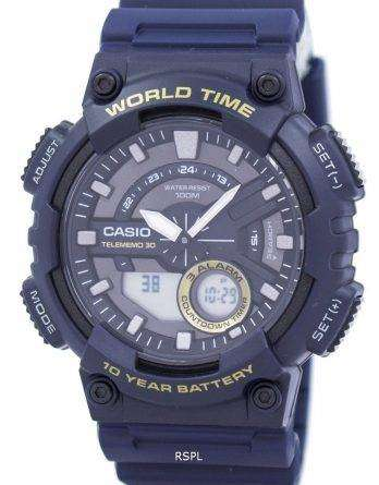 Casio Telememo 30 World Time Alarm Analog Digital AEQ-110W-2AV Men's Watch