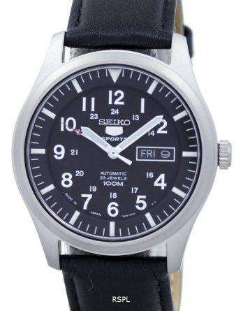 Seiko 5 Sports Automatic Japan Made Ratio Black Leather SNZG15J1-LS10 Men's Watch