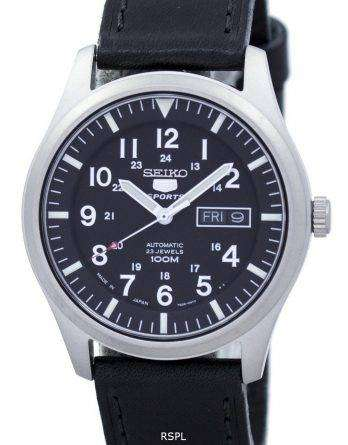 Seiko 5 Sports Automatic Japan Made Ratio Black Leather SNZG15J1-LS8 Men's Watch